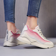 Hot Sale Stylish Women Running Shoes Increasing 5.5CM INS  Sneakers Cushioning Height Platform Breathable Wave Sports Walking