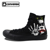 Black Converse All Star Shoes Joker Hand Painted High Top Canvas Shoes Men Fashion Sneakers Gifts