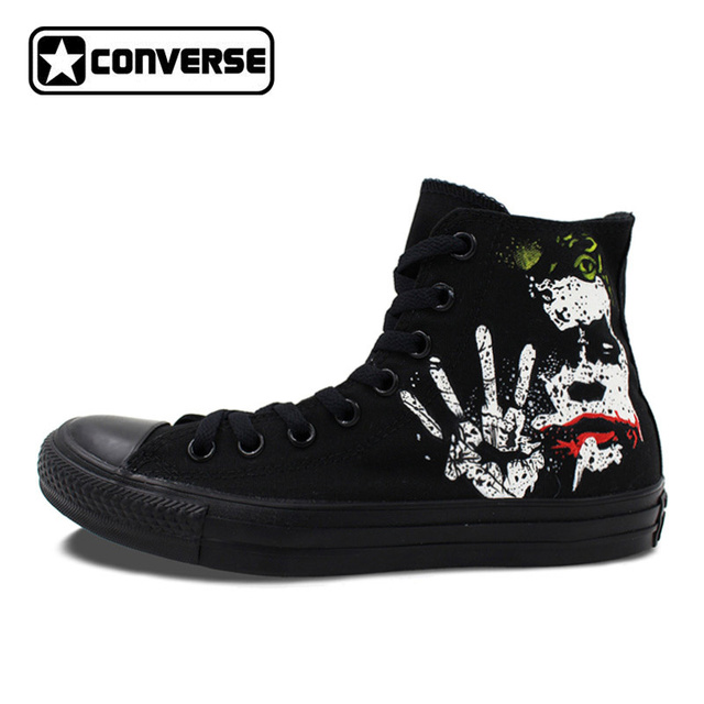 converse all star black. all black converse star batman joker classic design custom hand painted shoes high top canvas