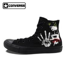 Все черные Converse All Star Джокер Бэтмен классический Дизайн пользовательские ручной росписью обувь высокие холщовые кроссовки рождественские подарки