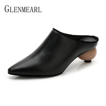 купить Women Slippers Mules Shoes Heels Pointed Toe Brand Summer Shoes Woman Black Red Female Slides Outdoor Party Shoes Plus Size DE по цене 1711.94 рублей