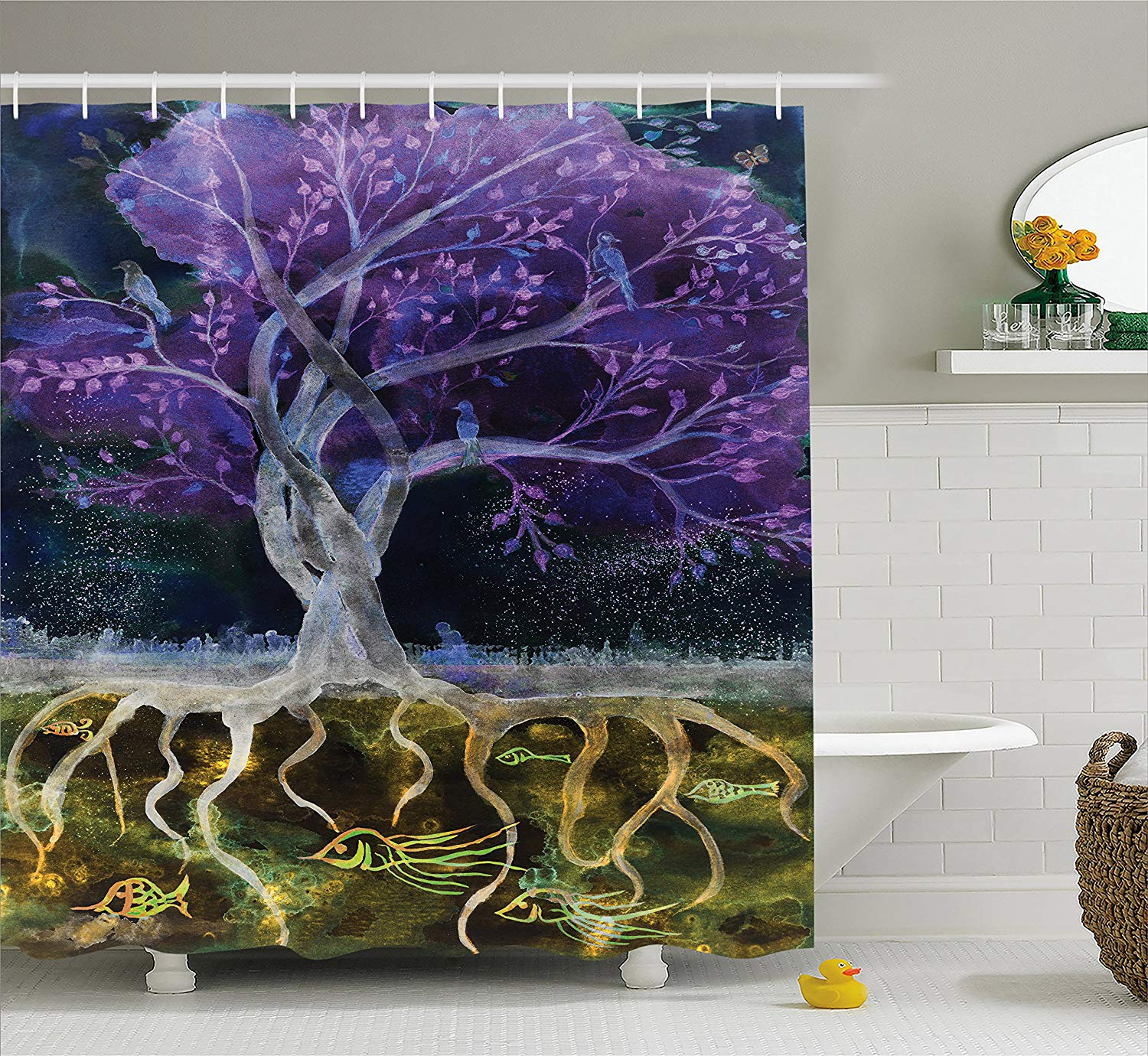 Tree Of Life Shower Curtain Psychedelic Magical Mysterious At Night With Birds And Fishes Home