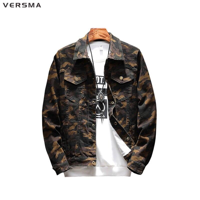 VERSMA mode décontracté homme Denim Chemise hommes Camisa Chemise Style militaire Camouflage Chemise hommes à manches longues Denim veste hommes 5XL