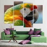 4 Panel Canvas Art Canvas Painting Parrot Beak Bird Macaw HD Printed Wall Art Poster Home