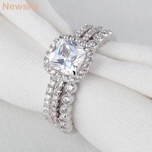 Image 5 - Newshe 1.7 ct radiante corte cz 3 pçs genuíno 925 prata esterlina conjuntos de anel de casamento banda de noivado para mulher