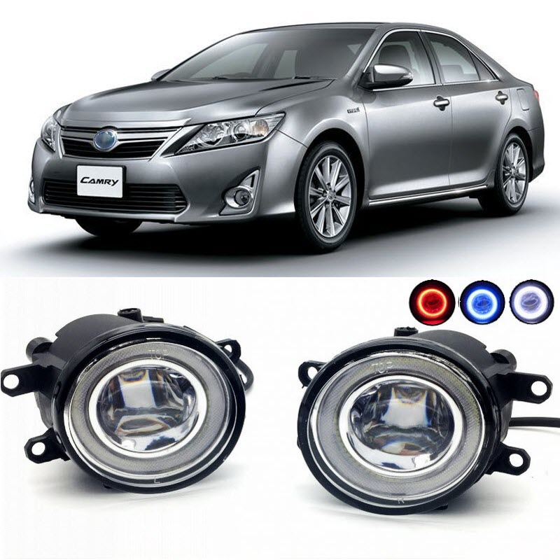 2 in 1 LED Cut-Line Lens Fog Lights Lamp 3 Colors Angel Eyes DRL Daytime Running Lights for Toyota Camry JP 2011- for opel astra h gtc 2005 15 h11 wiring harness sockets wire connector switch 2 fog lights drl front bumper 5d lens led lamp