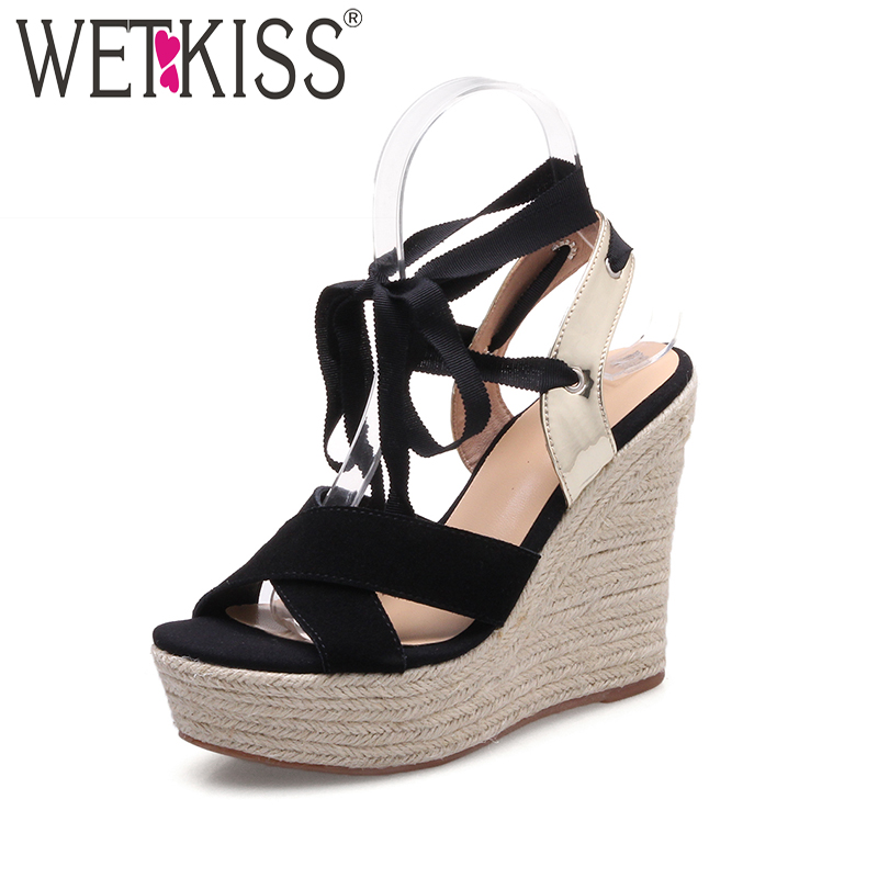 WETKISS 2017 New Cow Suede Women Sandals Fashion High Wedges Summer Shoes Woman Ankle Strap Platform Sandals Cross Bandage Shoes phyanic 2017 gladiator sandals gold silver shoes woman summer platform wedges glitters creepers casual women shoes phy3323