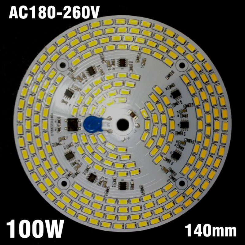 5pcs 100W High Bay Light PCB Panel, Dimmable SMD5730 Aluminum Plate AC 220v Directly Driverless Integrated Driver 20pcs 12w led light panel smd 5730 ic driver pcb input voltage ac110v 130v needn t driver aluminum plate free shippping