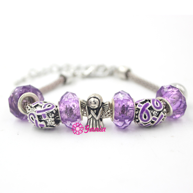 New Arrival 1pc Pancreatic Cancer Awareness Jewelry Angel Purple Ribbon Bracelet For Women