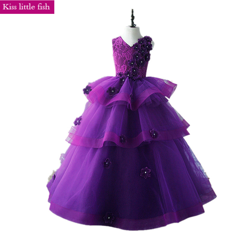 Buy 020 Free Shipping Real Photo Purle Kids Evening Gowns Dresses For Girls 10