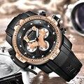 Мужские классические черные повседневные Модные Военные спортивные силиконовые часы с хронографом  Топ люксовый бренд  кварцевые наручные...