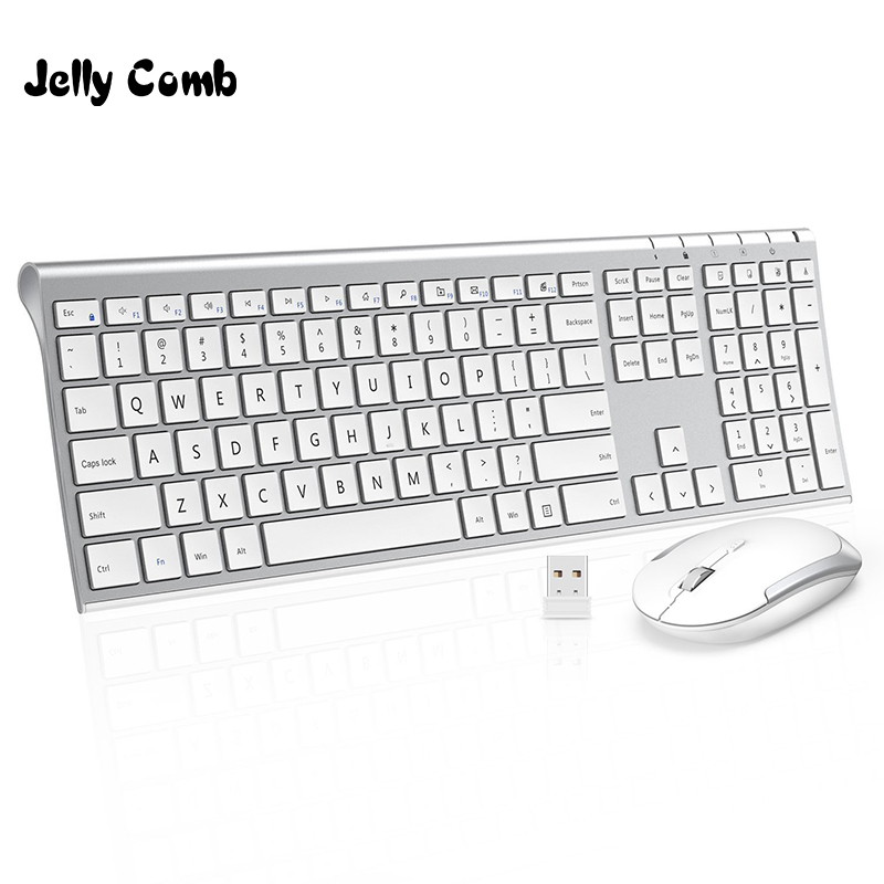 Jelly Comb 2.4G Ultra Slim Full Size Rechargeable Wireless Keyboard and Mouse Combo for Windows Laptop Notebook Russian/English