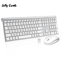 Jelly Comb 2.4GHz Ultra Slim Full Size Rechargeable Wireless Keyboard and Mouse Combo for Windows Laptop Notebook Desktop Silver
