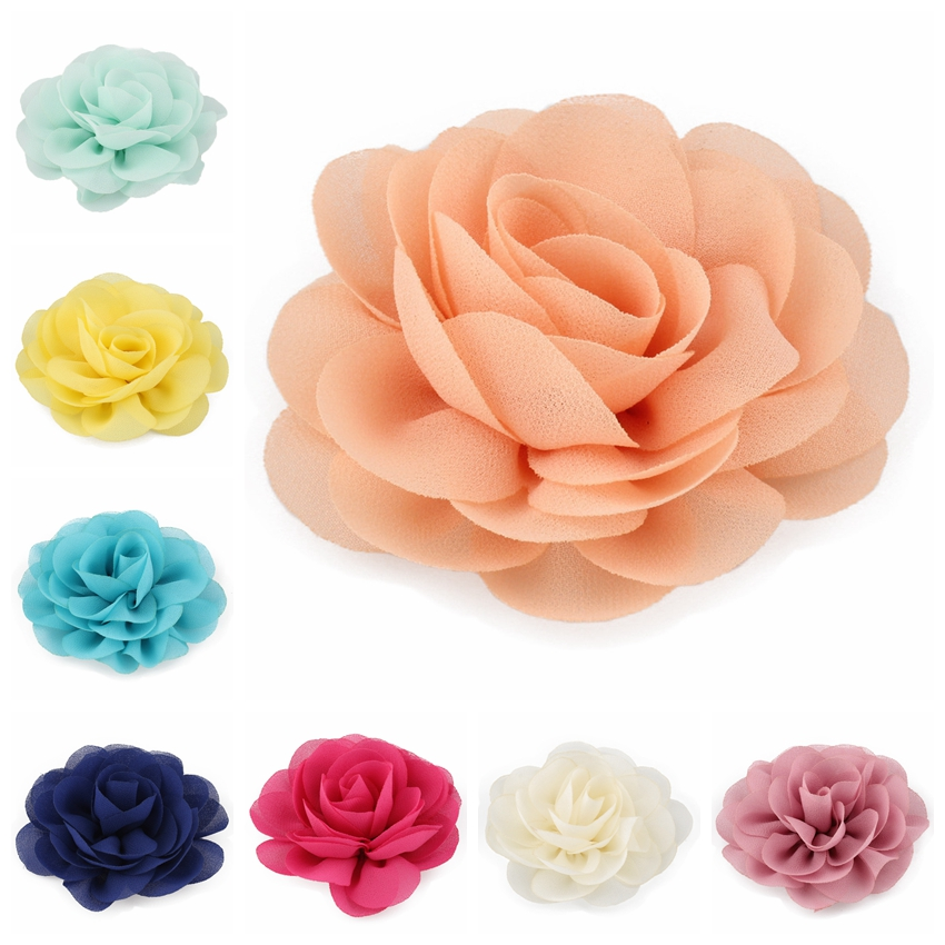 10PC 20 Colors 8.5cm 2017 Rolled Rose Fabric Hair Flowers For Kids Girls Hair Accessories Chiffon Petals Poppy Flower Hair Clips