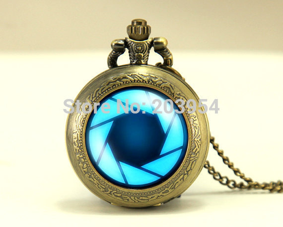 new movie fashion Iron Man aperture science 1pcs/lot quartz pocket watch locket Necklace handmade Jewelry mens womens wholesale