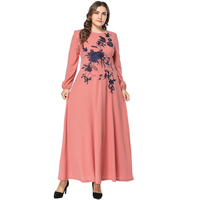 New Muslim Women Long Sleeve Fit and Flare Dress Middle Eastern Flower Embroidered Dress Vintage Long Robe Vestido XXXL 4XL
