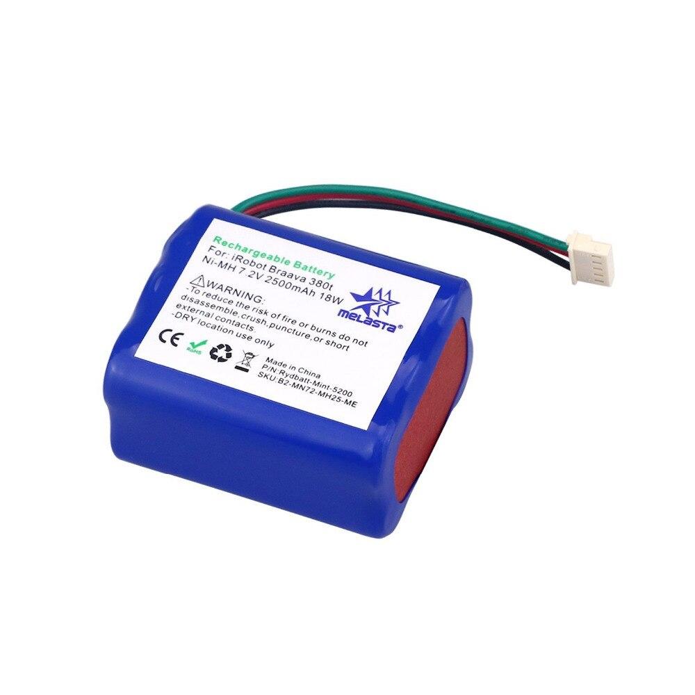 7.2 v 2500 mAh Ni-MH Batterie Pour iRobot Braava 380 t Essuyant Robot Braava 380 Menthe 5200 Menthe 5200C Étage de nettoyage/Essuyant Robot