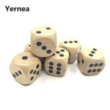 Yernea 5Pcs/Lot High-quality 25mm Woodiness Drinking Dice Solid Wood Puzzle Children Interesting Teaching Set Wholesale