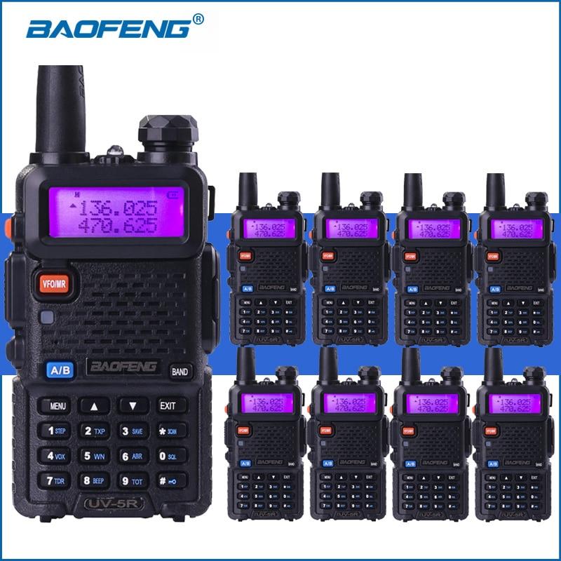 8 pcs/lot BAOFENG UV-5R Talkie Walkie Double Bande VHF UHF UV5R 2-Radios Bidirectionnelles Portable Talkie Walkie Deux- way Ham Radio Émetteur-Récepteur