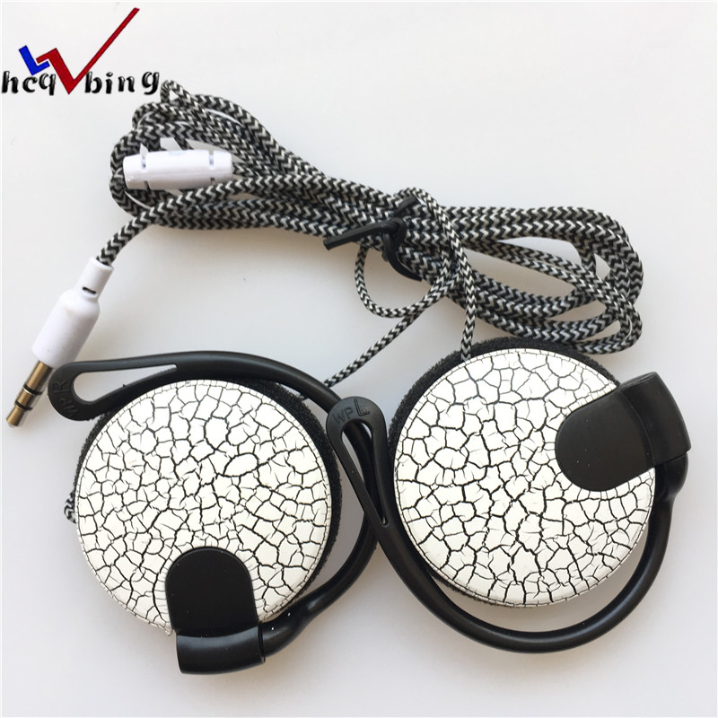 HCQWBING Sport Crack Headphones 3.5mm Headset Stereo HiFi EarHook Earphone For Mp3 Player Computer Mobile Telephone Earphone
