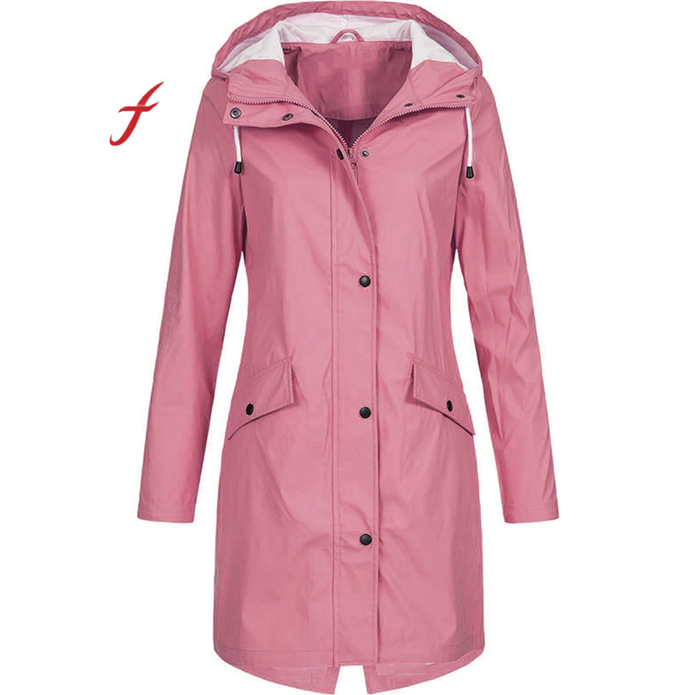Feitong Women's Solid Rain Jacket Outdoor Hoodie Waterproof Long Coat Overcoat Windproof Large size long warm hooded jacket 2019