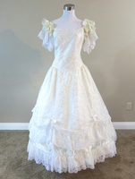 Ivory Lace Gown Civil War Costume Renaissance Dress Satin Dres