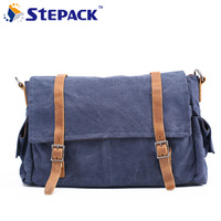2016 Crazy Horse Leather With Canvas Men Shoulder Bag Vintage Large Capacity Bag For Men Fashion