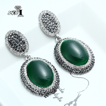 YaYi Jewelry New Green Glass Rhinestone Dangle Crystal Earring Women's Fashion Ancient Silver Color Gem Earrings Gift 1200 image