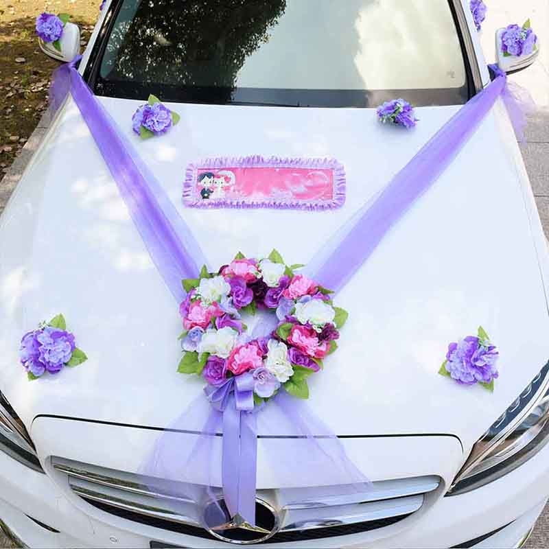 Wedding Car Flowers Decor Kit Artificial Silk Flower DIY Ribbon Valentine s Day Fake Flowers Sets