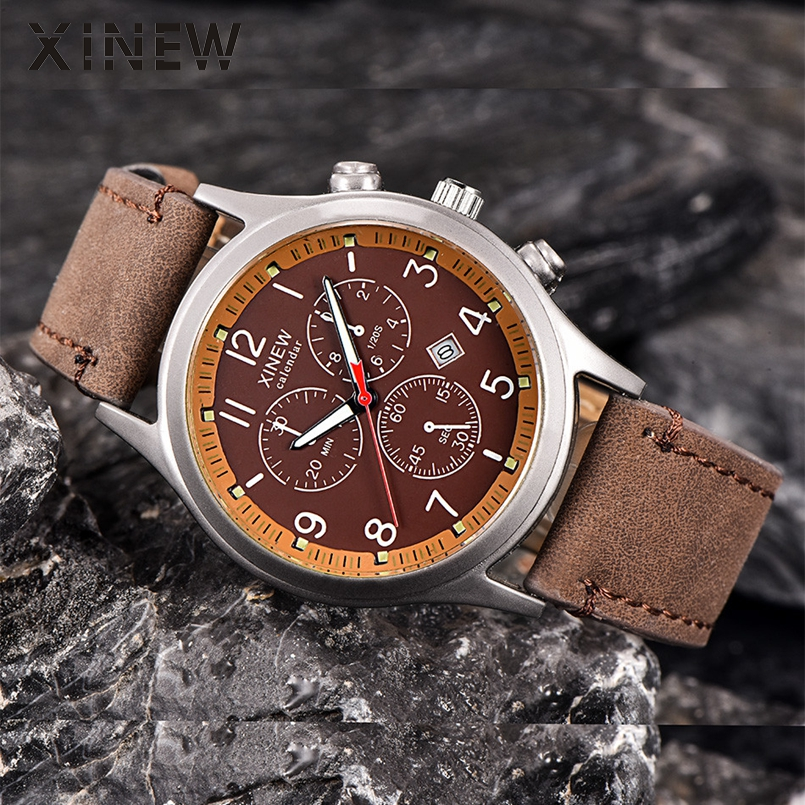 XINEW  Fashion Sport Mens Watches Top Brand Luxury Quartz Watch Reloj Hombre 2017 Clock Male hour relogio Masculino mens watch top luxury brand fashion hollow clock male casual sport wristwatch men pirate skull style quartz watch reloj homber