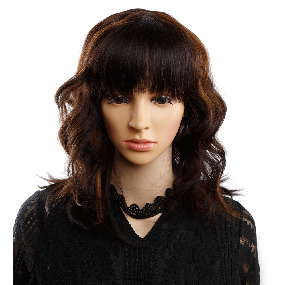 Amir Bob Wig Short Synthetic Mixed Color Black Mix Dark Brown Wigs For Women Medium Length Heat Resistant Cosplay Wigs