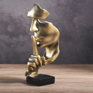 Image 2 - VILEAD 28.5cm reçine sessizlik, altın heykeli soyut maske heykelcikler avrupa maskesi heykel heykelcik ofis eski ev dekor