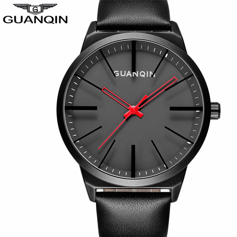 цена на GUANQIN Brand Men Watch Fashion Casual Watches Male Clock Top Brand Luxury Quartz Watch Men Wristwatch Leather Relogio Masculino