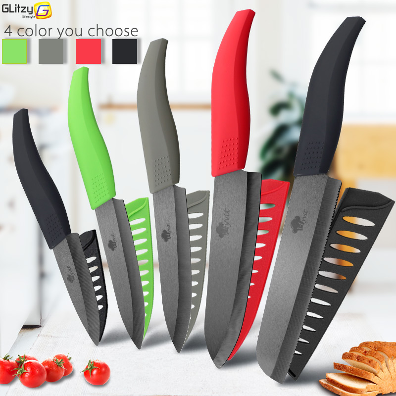 Ceramic Knife 6  5  4  3 Inch Kitchen Chef Knives Zirconia Black Blade Utility Slicing Paring Fruit Vegetable Meat Cutter Tool