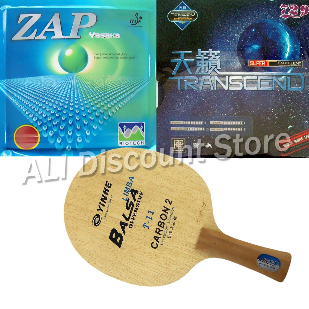 Galaxy YINHE T-11+ Blade with Yasaka ZAP 40mm NO ITTF and RITC729 TRANSCEND CREAM Rubbers for a Table Tennis Combo Racket FL hrt 2091 blade with galaxy yinhe 9000e dawei 388a 4 rubbers for a table tennis combo racket fl