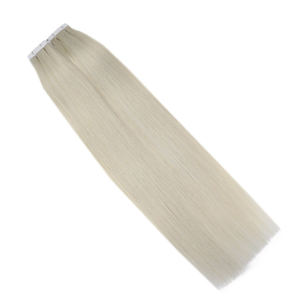 Full Shine  Blonde Color #1000 Tape In Human Hair Extensions 100 Gram 40 Pcs/Pack 100% Remy Glue On Hair Extensions