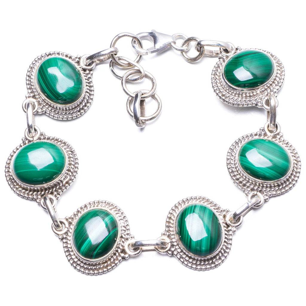 цена Natural Malachite Handmade Unique 925 Sterling Silver Bracelet 7-8
