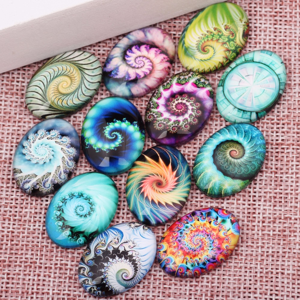 onwear 20pcs handmade mixed fractal photo oval glass cabochon 18x25mm diy flatback jewelry findings for pendant necklace