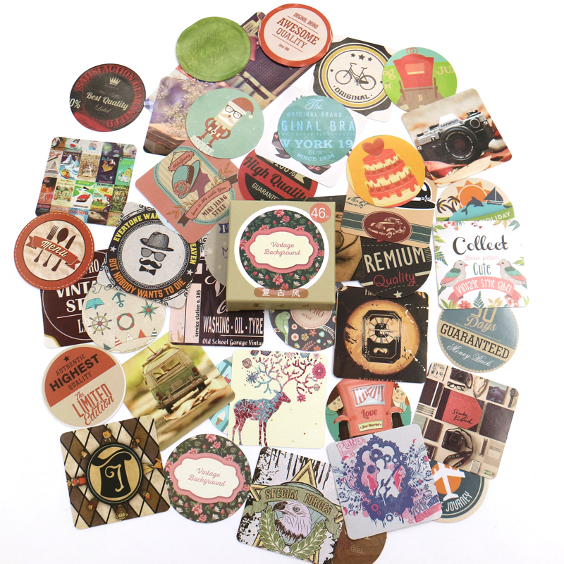 Купить с кэшбэком 46 Pcs/box Cute Stickers Retro Tags Handbook Album Diary Mobile Phone Decoration Scrapbook Shaped Seal Stickers DIY Stationery