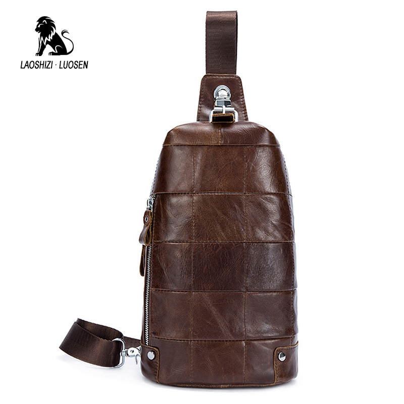 LAOSHIZI LUOSEN Cross Body Chest Bag Genuine Leather Men Bags Vintage Chest Packs Casual Travel Sling Bags Zipper Shoulder Bag laoshizi luosen genuine leather chest bag for men messenger bags vintage crossbody sling bag man shoulder bag small chest pack
