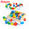 Simingyou Children'S Educational Toys Wooden Box 30 Large Beaded Building Blocks Combo Beads Wood Toys For Children WRB58