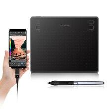 Huion tablet para desenho gráfico hs64 6×4 polegadas com caneta stylus de bateria para android