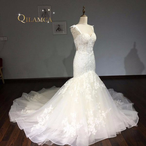 Vestidos De Noiva Custom Made Bruidsjurken Ivoor Kant Applicaties - Trouwjurken - Foto 4