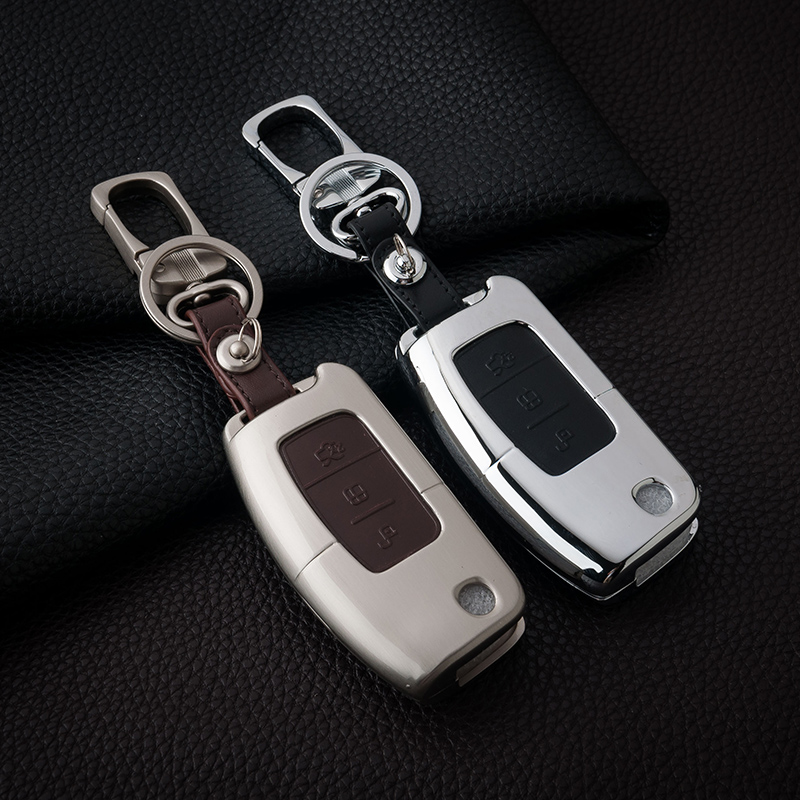 Leather Car Styling Key Cover Case Auto Accessories For Ford Focus 2 Escape Ecosport Fiesta Mondeo Kuga Fusion Keychain ouzhi for ford focus 2 3 mondeo fiesta f150 orange brown brand designer luxury pu leather front