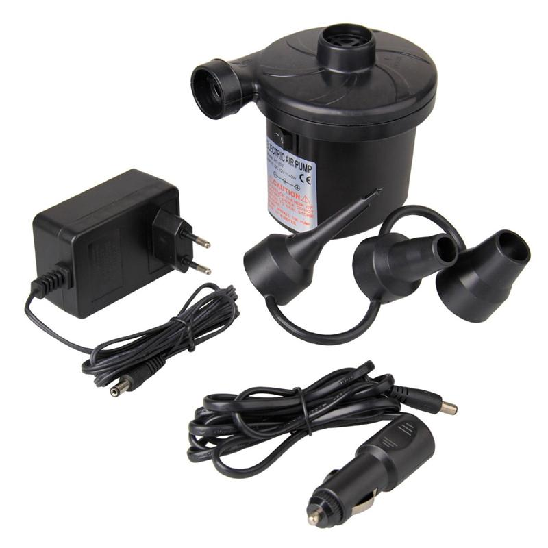 EU Plug Electric Air Pump DC12V/AC230V Inflate Deflate Pumps Car Inflator Electropump With 3 Nozzles(China)