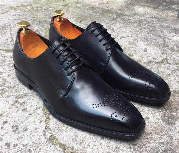 New Man Derby Lace-up Square toe Toe  Handmade Flat Dress Shoes Genuine Leather Carved Italian Formal  Men ShoesNew Man Derby Lace-up Square toe Toe  Handmade Flat Dress Shoes Genuine Leather Carved Italian Formal  Men Shoes