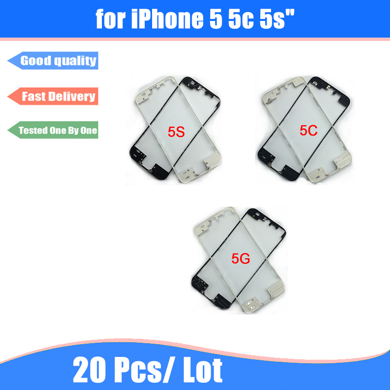 imágenes para Para iphone 5 5c 5s 20 unids/lote vidrio frontal de la pantalla soporte vivienda medio bisel del capítulo con pegamento de fusión en caliente de piezas de repuesto