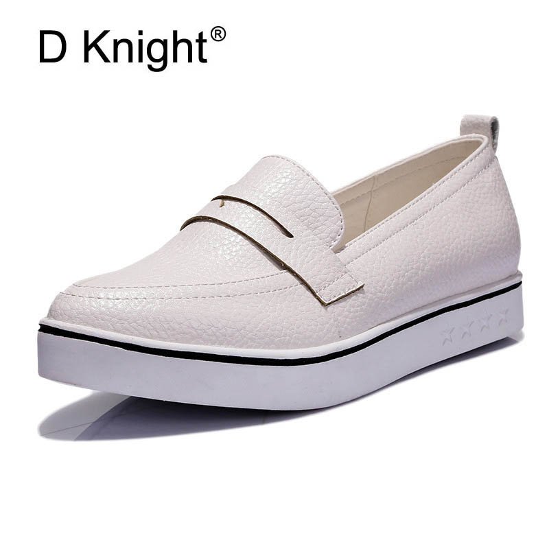 Ladies Casual Pointed Toe Slip-on Platform Loafers Fashion White Women Flat Shoes Low Heeled Women Flat Size 34-40 Women Loafers hot sale 2016 new fashion spring women flats black shoes ladies pointed toe slip on flat women s shoes size 33 43