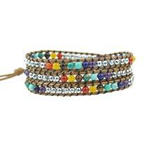 Chakra Bracelet Jewelry Handmade Leather Wrap Bracelet Multi Color Round Crystal Beads Natural Stone Bracelet