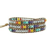 Vintage Leather Bracelets Natural Stone 3 Strands Wrap Woven Multilayer Boho Bracelet Handmade Jewelry Dropship